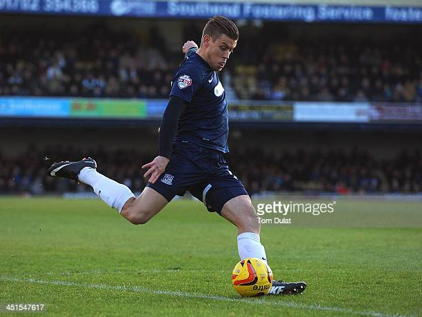 Kevan Hurst of Southend United scores the opening goal during the Sky Bet League Two match between Southend United and York City at Roots Hall on...