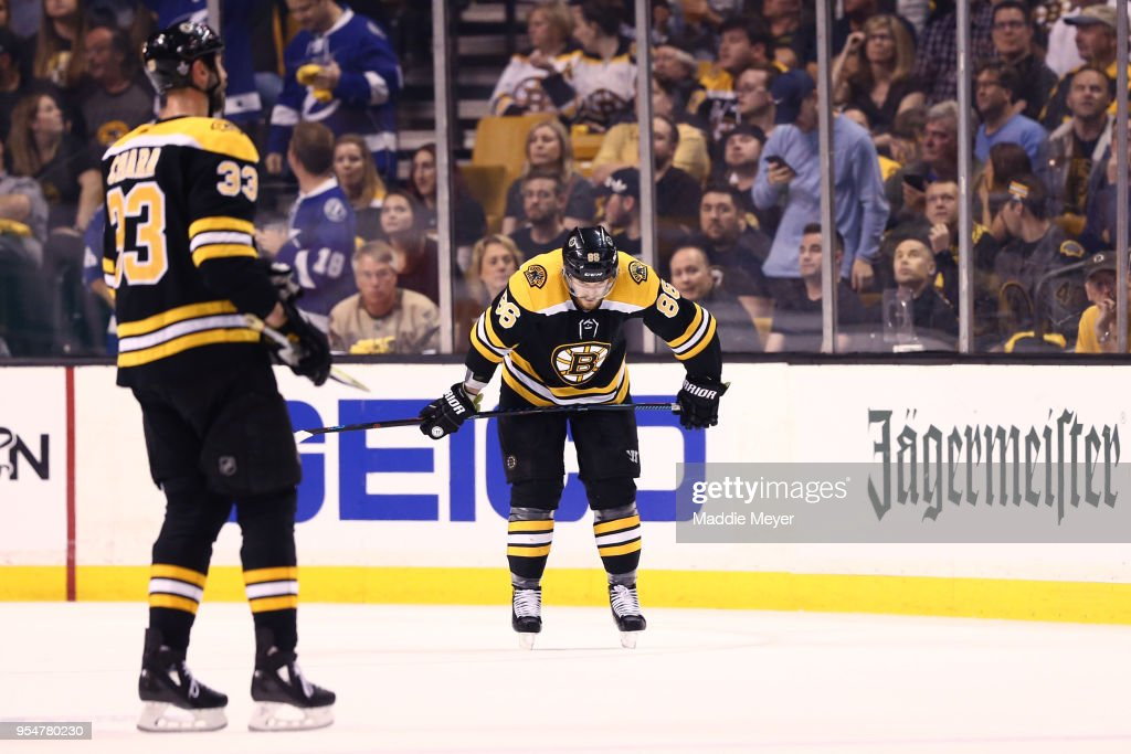 Kevan Miller #86 of the Boston Bruins reacts during the first period of Game Four of the Eastern Conference Second Round against the Tampa Bay Lightning during the 2018 NHL Stanley Cup Playoffs at TD Garden on May 4, 2018 in Boston, Massachusetts.