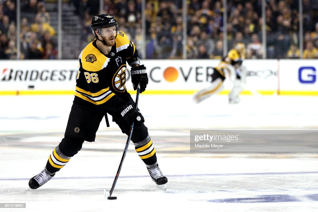 Kevan Miller #86 of the Boston Bruins skates against the Toronto Maple Leafs during the third period of Game Seven of the Eastern Conference First Round in the 2018 Stanley Cup play-offs at TD Garden on April 25, 2018 in Boston, Massachusetts. The Bruins defeat the Maple Leafs 7-4.
