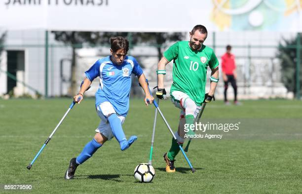 Kevan O Rourke of Ireland in action against Emanuele Padoan of Italy during the European Amputee Football Federation European Championship match...