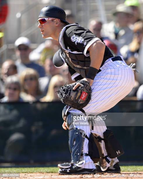 Kevan Smith of the Chicago White Sox catches against the San Diego Padres on March 4 2018 at Camelback Ranch in Glendale Arizona