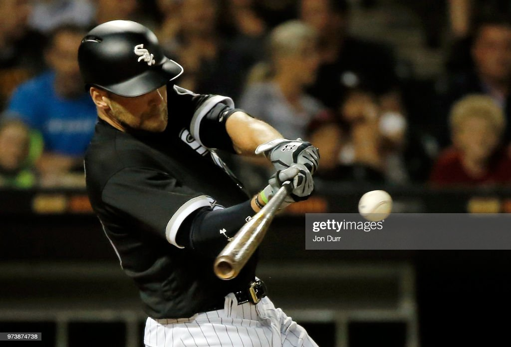 Kevan Smith #36 of the Chicago White Sox hits an RBI double to score Jose Abreu #79 (not pictured) against the Cleveland Indians during the sixth inning at Guaranteed Rate Field on June 13, 2018 in Chicago, Illinois.