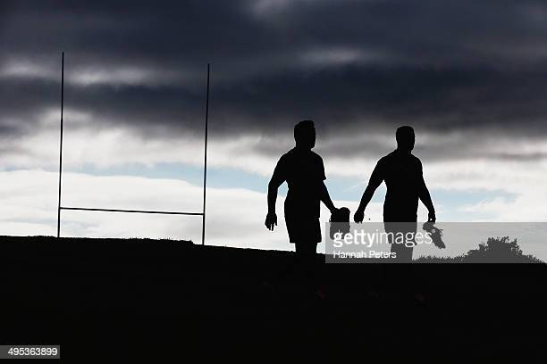 Keven Mealamu and Nathan Harris of the All Blacks arrive for a New Zealand All Blacks training session at Trusts Stadium on June 3 2014 in Auckland...