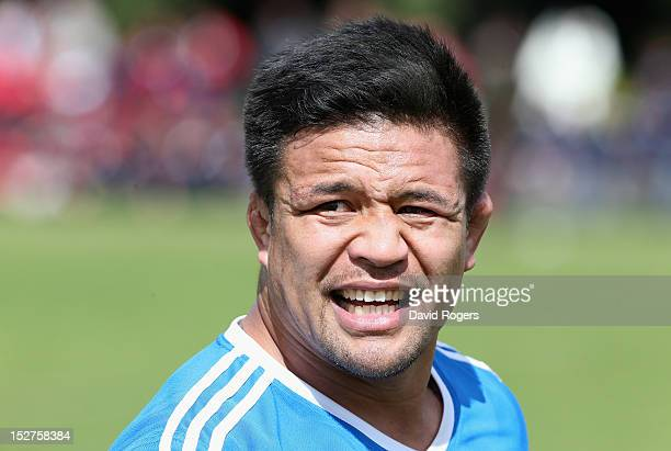 Keven Mealamu looks on during a New Zealand All Blacks training session held at St George's College on September 25 2012 in Buenos Aires Argentina