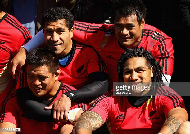 Keven Mealamu Mils Muliaina Isaia Toeava and Ma'a Nonu pose during a New Zealand All Blacks IRB Rugby World Cup 2011 training session at Rugby League...