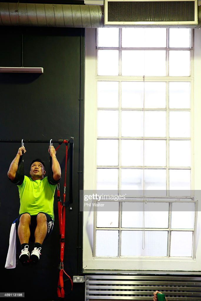 Keven Mealamu of the All Blacks during a New Zealand All Blacks Gym session at the Cardiff University Strength and Conditioning Centre on November 17, 2014 in Cardiff, Wales.