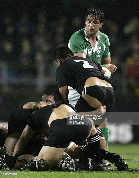 Keven Mealamu of the All Blacks has his shorts pulled down during the international test match between the New Zealand All Blacks and Ireland at Eden...