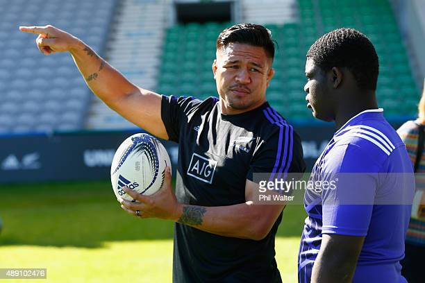 Keven Mealamu of the All Blacks iinteracts with young rugby players during an adidas Force of Black event at Twickenham Stoop on September 19, 2015...