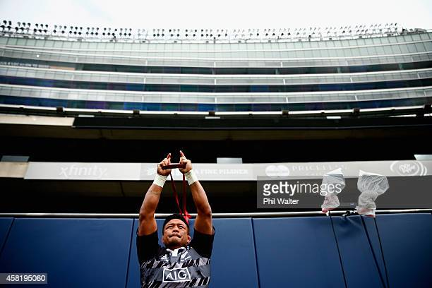 Keven Mealamu of the All Blacks warms up during the New Zealand All Blacks Captain's run at Soldier Field on October 31 2014 in Chicago Illinois