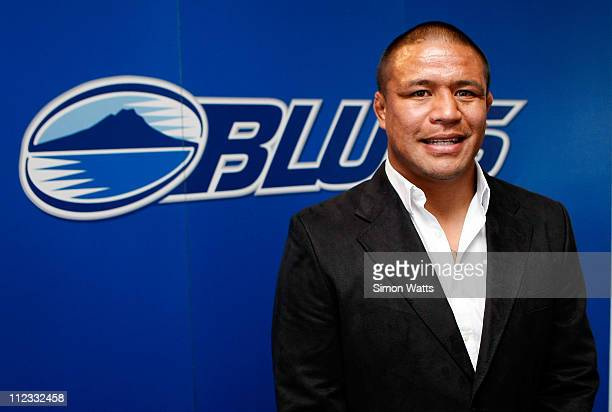 Keven Mealamu of the Blues and All Blacks announces a multi-year contract with the NZRU during a New Zealand All Blacks press conference at Eden Park...