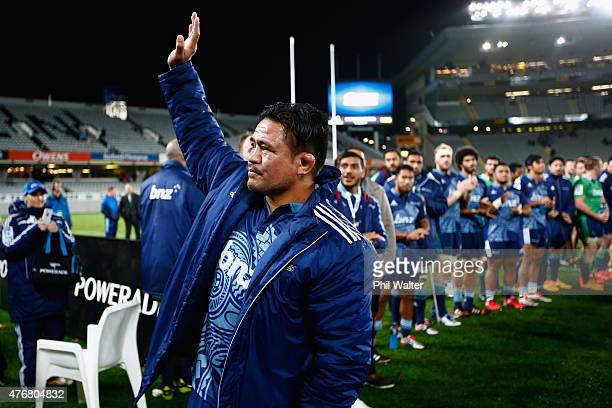 Keven Mealamu of the Blues is farewelled following the round 18 Super Rugby match between the Blues and the Highlanders at Eden Park on June 12 2015...