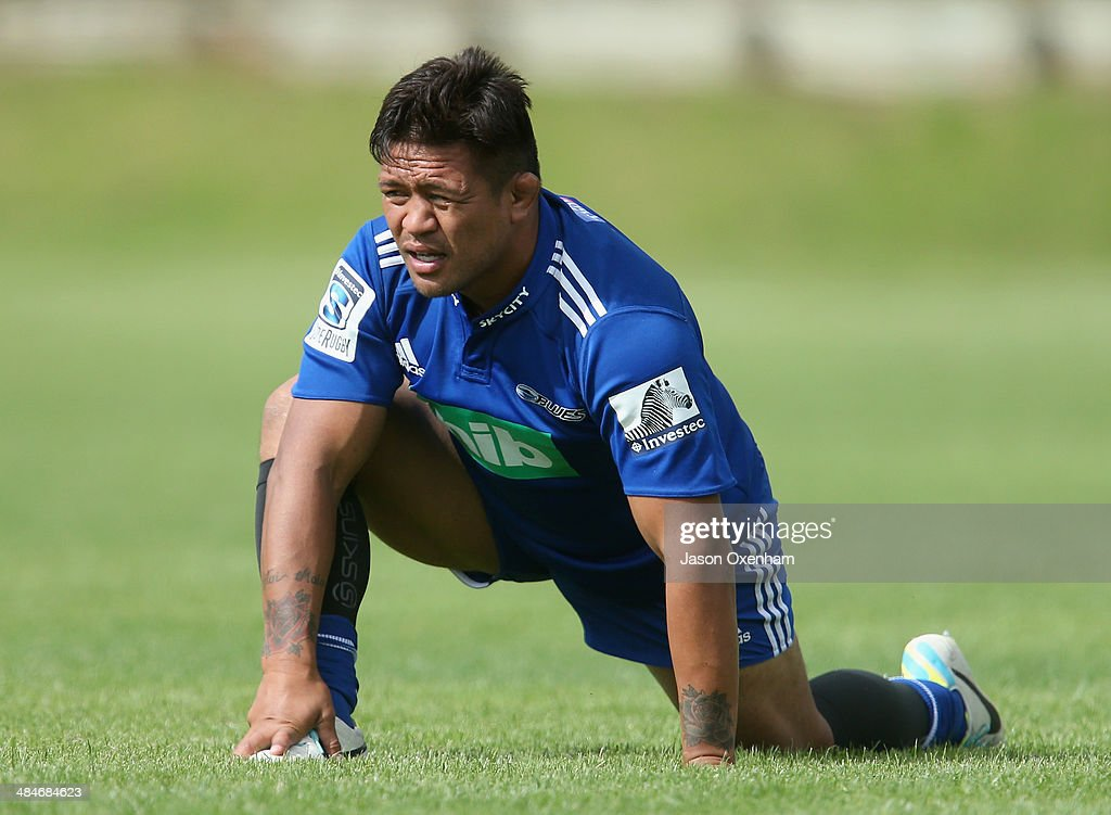 Keven Mealamu of the Blues warms up before an Auckland Blues Super Rugby training session at Unitec on April 14, 2014 in Auckland, New Zealand.
