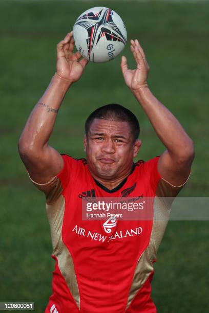 Keven Mealamu runs through lineout drills during a New Zealand All Blacks training session at North Harbour Stadium on August 11 2011 in Auckland New...