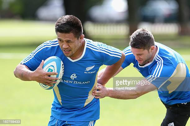 Keven Mealamu runs with the ball during a New Zealand All Blacks training session held at St George's College on September 25 2012 in Buenos Aires...