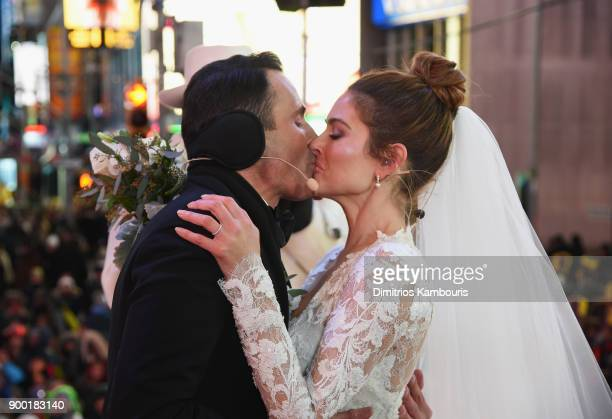 Keven Undergaro and Maria Menounos hold their wedding ceremony during Maria Menounos and Steve Harvey Live from Times Square at Marriott Marquis...