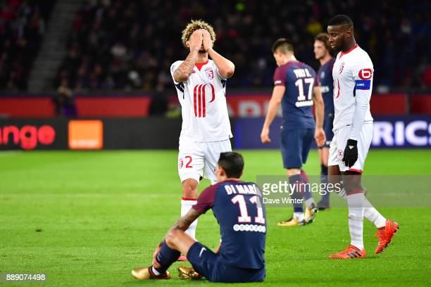 Kevim Malcuit of Lille reacts after being penalised for a foul on Angel Di Maria of PSG during the Ligue 1 match between Paris Saint Germain and...