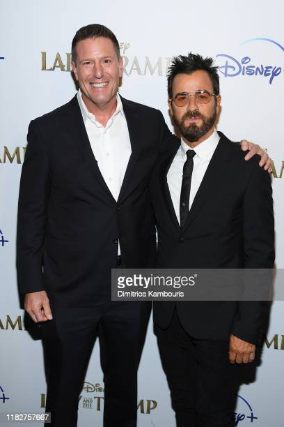 Kevin A Mayer and Justin Theroux attend as Cinema Society hosts a special screening of Disney's Lady And The Tramp at iPic Theater on October 22 2019...