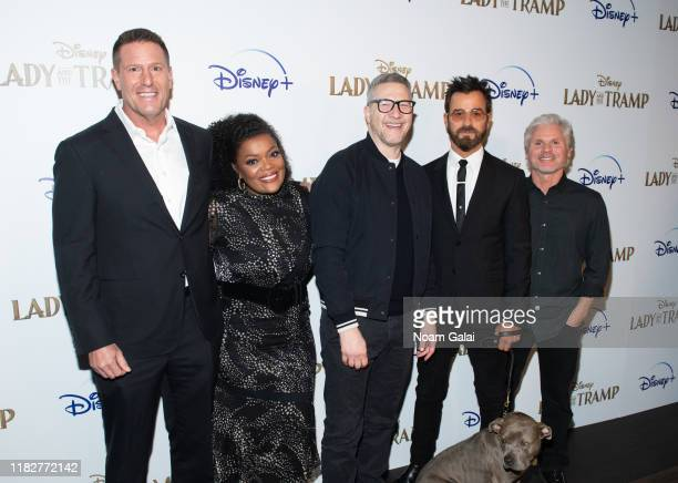 Kevin A Mayer Yvette Nicole Brown Charlie Bean Justin Theroux and Brigham Taylor attend Disney's Lady and the Tramp New York Screening at iPic...