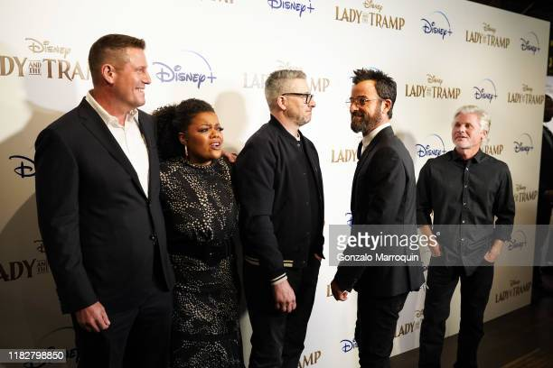 Kevin A Mayer Yvette Nicole Brown Charlie Bean Justin Theroux and Brigham Taylor during the Disney And The Cinema Society Host A Special Screening Of...