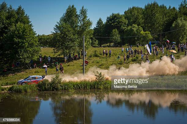Kevin Abbring of the Netherlands and Sebastian Marshall of Great Britain compete in their Hyundai Motorsport N Hyundai i20 WRC during Day One of the...