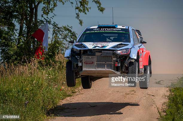 Kevin Abbring of the Netherlands and Sebastian Marshall of Great Britain compete in ther Hyundai Motorsport N Hyundai i20 WRC during Day Two of the...