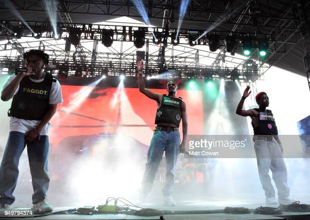 Kevin Abstract Ameer Vann and Merlyn Wood of Brockhampton performs onstage during the 2018 Coachella Valley Music And Arts Festival at the Empire...