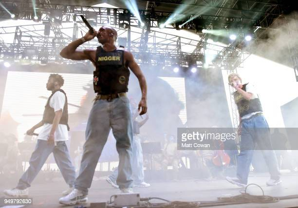 Kevin Abstract Ameer Vann and Russell Boring aka JOBA of Brockhampton performs onstage during the 2018 Coachella Valley Music And Arts Festival at...