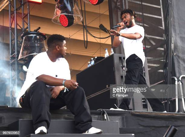 Kevin Abstract and Dominic Michael Simpson aka Dom McLennon of Brockhampton perform during the 51st Festival d'ete de Quebec on July 5 2018 in Quebec...
