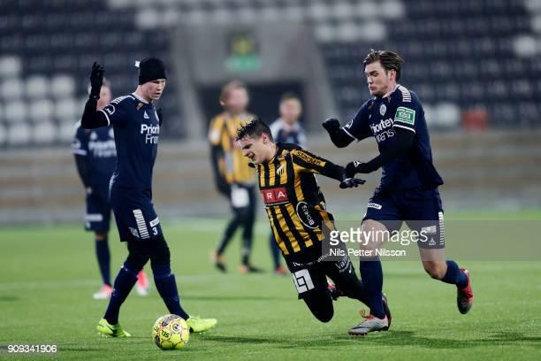 Kevin Ackerman of BK Hacken falls during the preseason friendly match between BK Hacken and Utsiktens BK at Bravida Arena on January 23 2018 in...