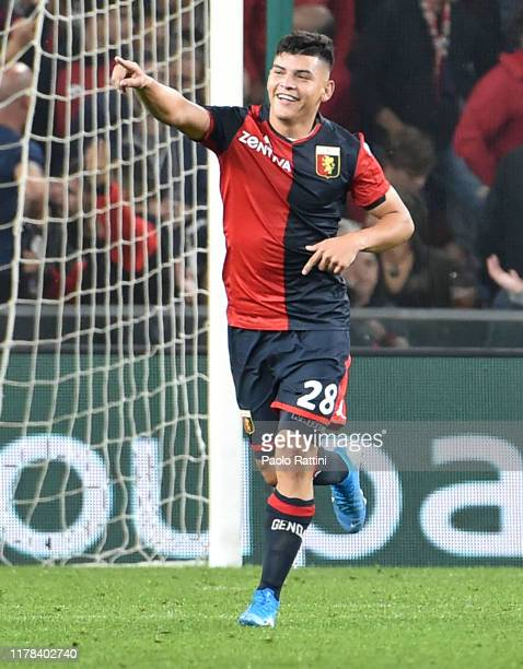 Kevin Agudelo of Genoa CFC celebrates after score 11 during the Serie A match between Genoa CFC and Brescia Calcio at Stadio Luigi Ferraris on...