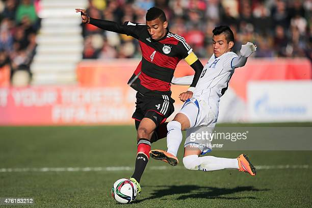 Kevin Akpoguma of Germany battles with Jose Escalante of Honduras during the FIFA U20 World Cup New Zealand 2015 Group F match between Honduras and...