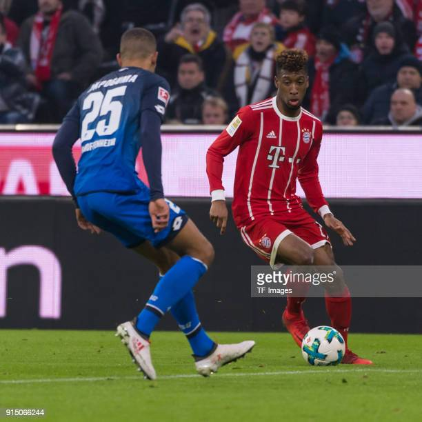 Kevin Akpoguma of Hoffenheim and Kingsley Coman of Bayern Muenchen battle for the ball during the Bundesliga match between FC Bayern Muenchen and TSG...