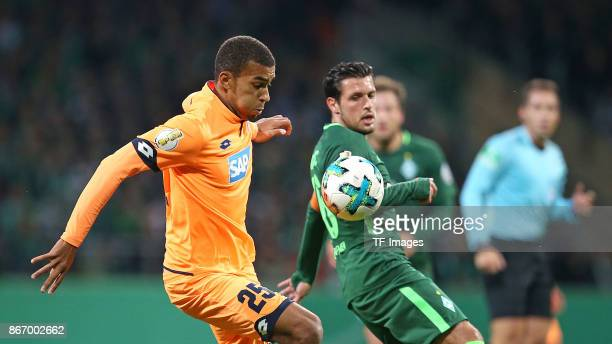 Kevin Akpoguma of Hoffenheim and Zlatko Junuzovic of Bremen battle for the ball during the DFB Cup match between Werder Bremen and 1899 Hoffenheim at...
