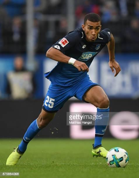 Kevin Akpoguma of Hoffenheim controls the ball during the Bundesliga match between TSG 1899 Hoffenheim and Eintracht Frankfurt at Wirsol...