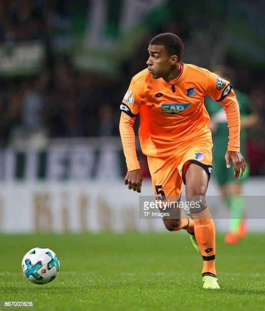Kevin Akpoguma of Hoffenheim controls the ball during the DFB Cup match between Werder Bremen and 1899 Hoffenheim at Weserstadion on October 25 2017...