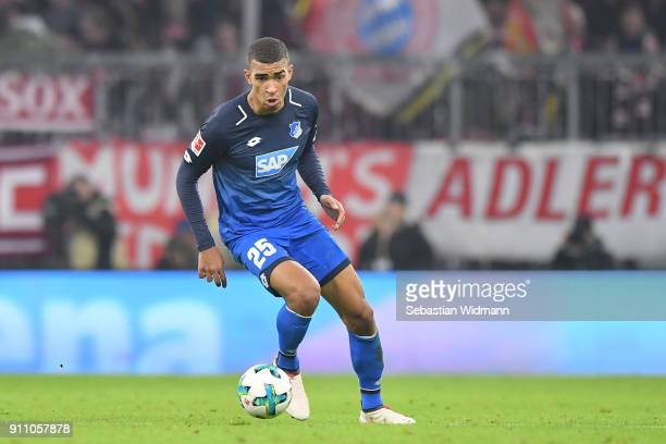 Kevin Akpoguma of Hoffenheim plays the ball during the Bundesliga match between FC Bayern Muenchen and TSG 1899 Hoffenheim at Allianz Arena on...