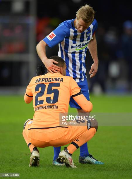 Kevin Akpoguma of the TSG 1899 Hoffenheim and Per Skjelbred of Hertha BSC after the game between Hertha BSC and TSG Hoffenheim on february 3 2018 in...