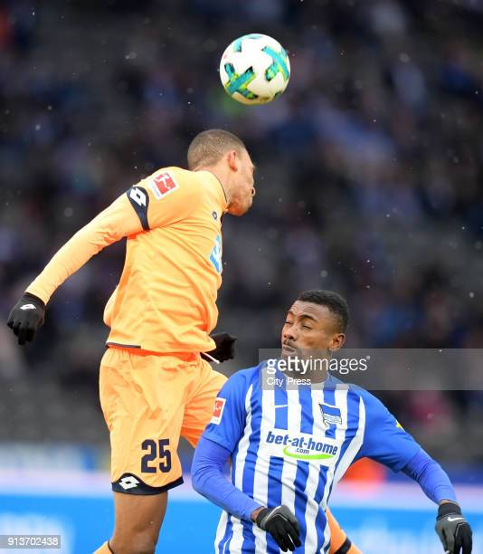 Kevin Akpoguma of the TSG 1899 Hoffenheim and Salomon Kalou of Hertha BSC during the game between Hertha BSC and TSG Hoffenheim on february 3 2018 in...
