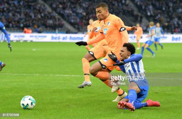 Kevin Akpoguma of the TSG 1899 Hoffenheim and Valentino Lazaro of Hertha BSC during the game between Hertha BSC and TSG Hoffenheim on february 3 2018...