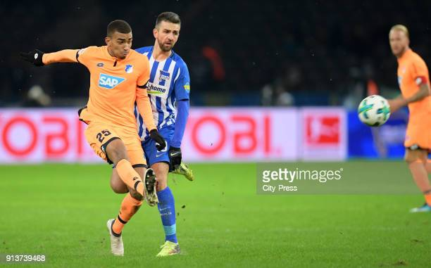 Kevin Akpoguma of the TSG 1899 Hoffenheim and Vedad Ibisevic of Hertha BSC during the game between Hertha BSC and TSG Hoffenheim on february 3 2018...