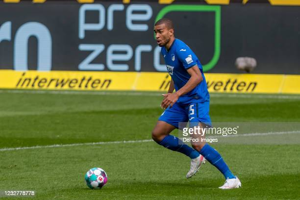 Kevin Akpoguma of TSG 1899 Hoffenheim controls the Ball during the Bundesliga match between TSG Hoffenheim and FC Schalke 04 at PreZero-Arena on May...