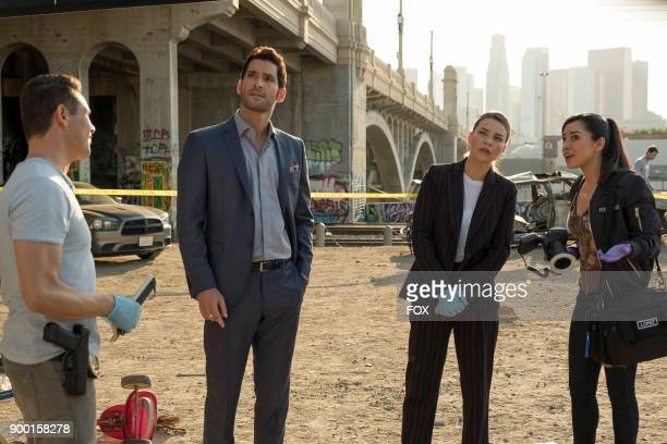 Kevin Alejandro Tom Ellis Lauren German and Aimee Garcia in the The One With The Baby Carrot episode of LUCIFER airing Monday Oct 9 on FOX