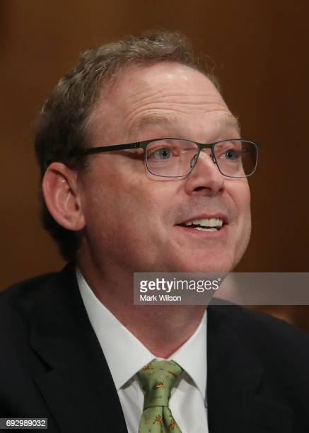 Kevin Allen Hassett participates in his confirmation hearing be Chairman of the Council of Economic Advisers during a Senate Banking Housing and...