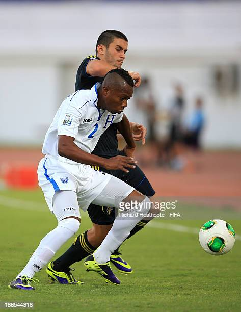 Kevin Alvarez of Honduras holds off Valmir Berisha of Sweden during the FIFA U17 World Cup UAE 2013 Quarter Final match between Honduras and Sweden...