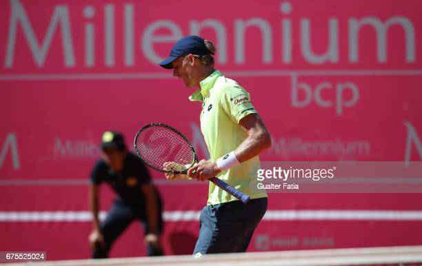 Kevin Anderson celebrates after winning a point during the match between Salvatore Caruso from Italy and Kevin Anderson from South Africa for...