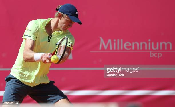 Kevin Anderson in action during the match between Salvatore Caruso from Italy and Kevin Anderson from South Africa for Millennium Estoril Open at...