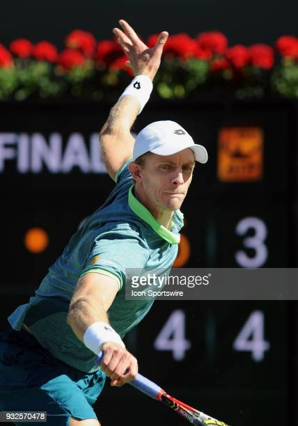 Kevin Anderson in action during the third set of a quarterfinals match played during the BNP Paribas Open on March 15 2018 at the Indian Wells Tennis...