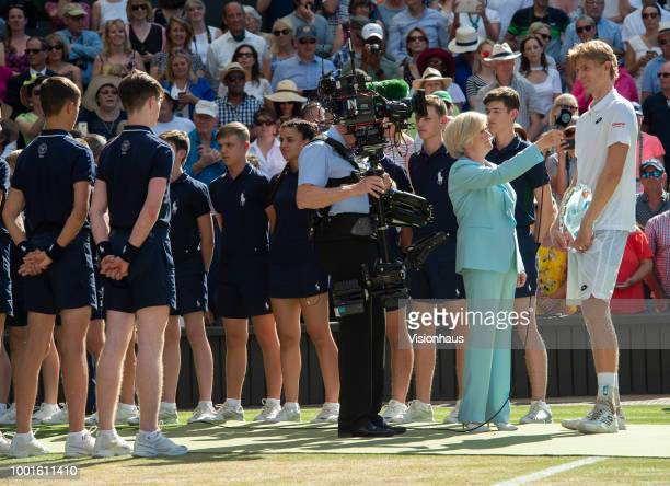 Kevin Anderson is interviewed by Sue BArker of the BBC after losing the Men's Singles Final on day thirteeen of the Wimbledon Lawn Tennis...