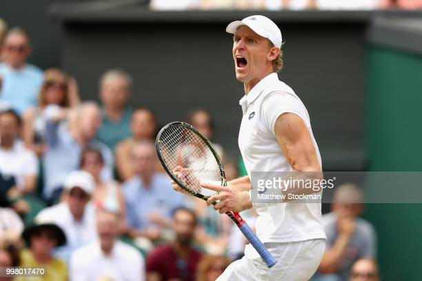 Kevin Anderson of South Africa celebrates a point against John Isner of The United States during their Men's Singles semifinal match on day eleven of...