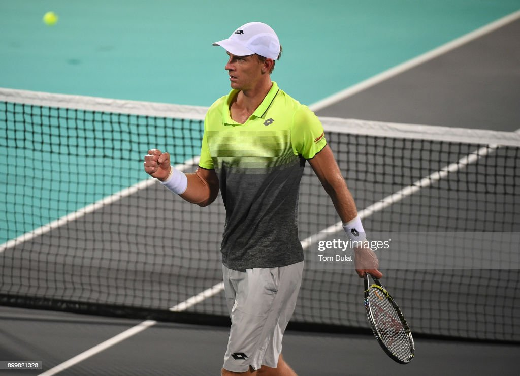 Kevin Anderson of South Africa celebrates a point during his final match against Roberto Bautista Agut of Spain on day three of the Mubadala World Tennis Championship at International Tennis Centre Zayed Sports City on December 30, 2017 in Abu Dhabi, United Arab Emirates.